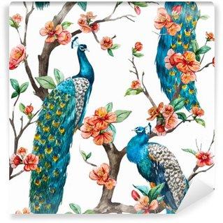 Watercolor vector peacock pattern Wall Mural - Vinyl