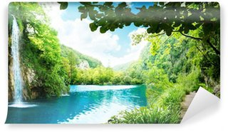 waterfall in deep forest Wall Mural - Vinyl
