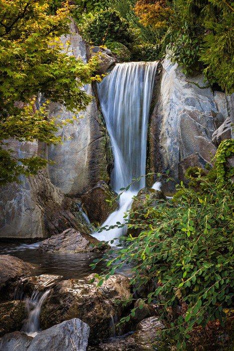 Wall Mural   Vinyl Waterfall In Japanese Garden   Water