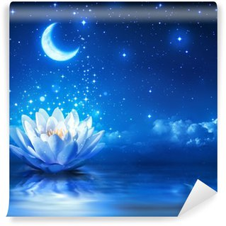waterlily and moon in starry night - magic background Wall Mural - Vinyl
