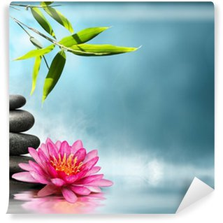 waterlily with stones and bamboo Wall Mural - Vinyl