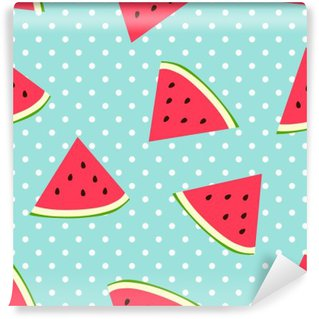 Watermelon seamless pattern with polka dots Wall Mural - Vinyl