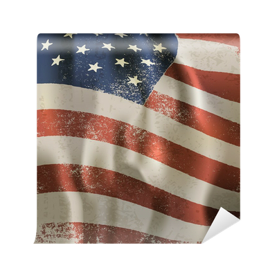Waving vintage American flag textured background. With dry ...