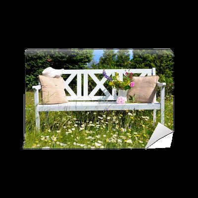 Weiße Gartenbank Auf Einer Blumenwiese Wall Mural U2022 Pixers® U2022 We Live To  Change