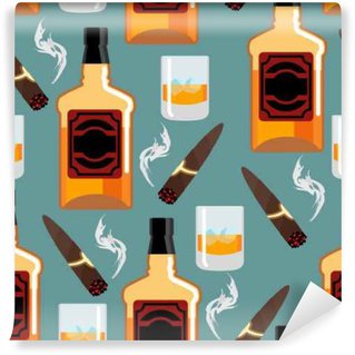 Wall Mural - Vinyl Whiskey with ice seamless pattern. Gentleman background. Bottle