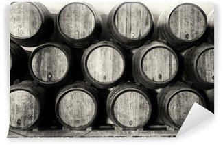 Wall Mural - Vinyl Whisky or wine barrels in black and white