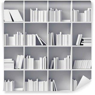 Wall Mural - Vinyl white bookshelves
