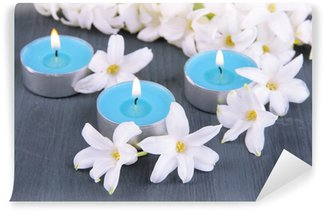 White hyacinth with candles on wooden background Wall Mural - Vinyl