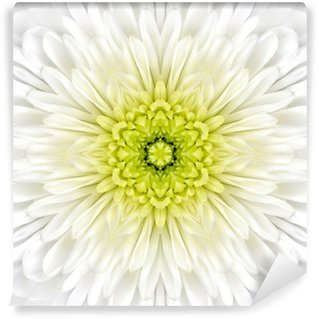 White Mandala Concentric Flower Center Kaleidoscope Wall Mural - Vinyl