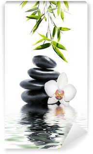 Wall Mural - Vinyl white orchid flower end bamboo
