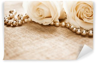 Vinyl Wall Mural White roses and pearls