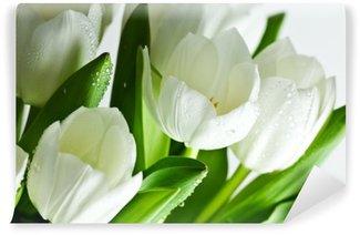 Wall Mural - Vinyl White Tulips