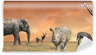 Wild savanna animals collection Wall Mural - Vinyl