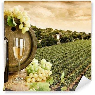 Wine and vineyard in vintage style