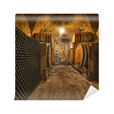 Wine Cellar With Bottles And Oak Barrels Wall Mural