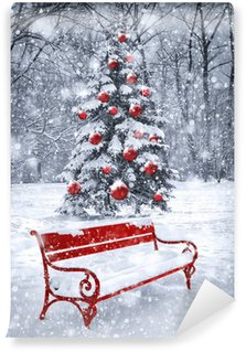 Winter Christmas background. Scene with red element. Concept gra Wall Mural - Vinyl