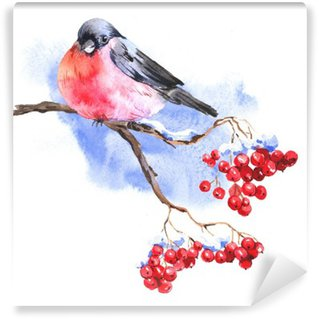 Winter Watercolor background with bullfinches Wall Mural - Vinyl
