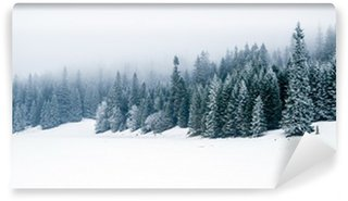 Winter white forest with snow, Christmas background Wall Mural - Vinyl