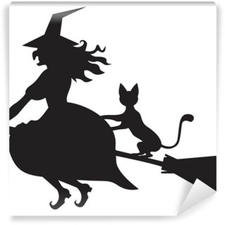Wall Mural - Vinyl Witch on a broom and cat