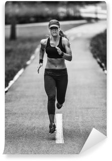 Vinyl Wall Mural Woman jogging in black and white