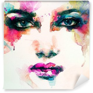 Vinyl Wall Mural woman portrait .abstract watercolor .fashion background