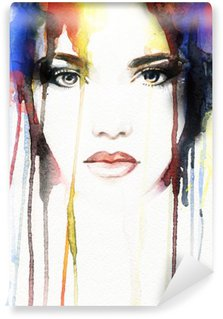 Wall Mural - Vinyl woman portrait .abstract watercolor