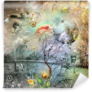 Wonderland with Golden tulip Wall Mural - Vinyl