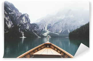 Wood boat in Braies lake Wall Mural - Vinyl