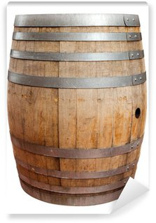 Wall Mural - Vinyl Wooden barrel for wine with steel ring. Clipping path included.