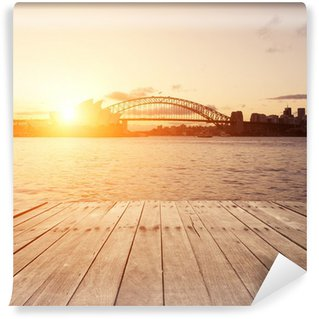 wooden board and Sydney landmarks Wall Mural - Vinyl