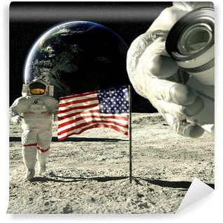 working astronauts on moon 3d rendering Wall Mural - Vinyl