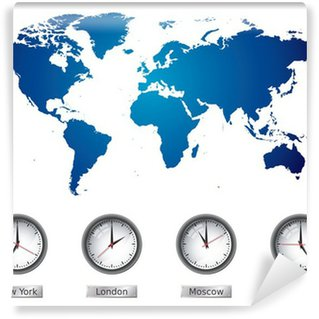 World map blackboard chalkboard vector wall mural pixers we world map and time zone clocks vinyl wall mural gumiabroncs Images