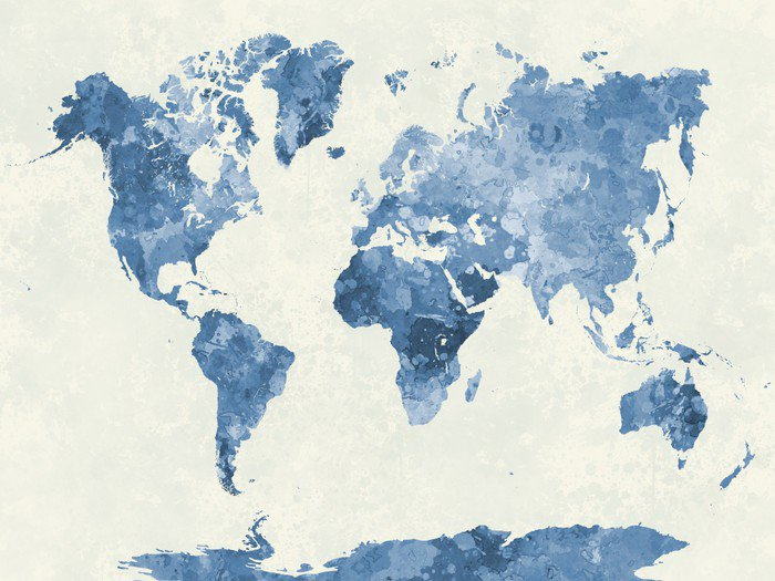 World map in watercolor blue vinyl wall mural pixers for Blue world map mural