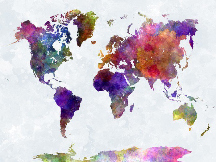 World map in watercolorpurple and blue wall mural pixers for Blue world map wall mural