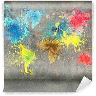 washable wall paintworld map made of paint splashes on concrete wall background Wall