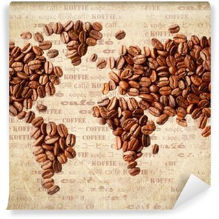 Wall Mural - Vinyl World Map Of Coffee Beans