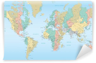 World map with Time Zones Wall Mural - Vinyl