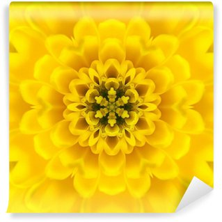 Yellow Concentric Flower Center. Mandala Kaleidoscopic design Wall Mural - Vinyl