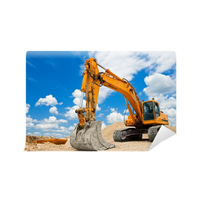 Yellow excavator at construction site wall mural pixers for Construction site wall mural