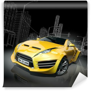 Wall Mural - Vinyl Yellow sports car. Original car design.