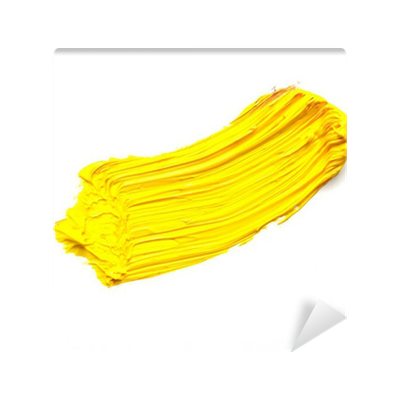 yellow stroke of the paint brush isolated on white Wall ...