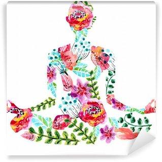 Yoga pose, watercolor bright floral illustration Wall Mural - Vinyl