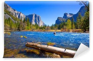 Vinyl Wall Mural Yosemite Merced River el Capitan and Half Dome