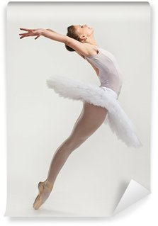 Vinyl Wall Mural Young ballerina dancer in tutu performing on pointes
