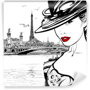 Wall Mural - Vinyl Young woman near the Seine river in Paris