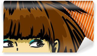 young woman peeking out vector drawing, stripped background