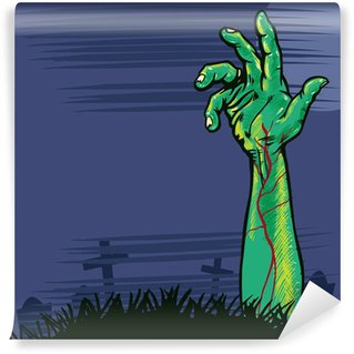 Wall Mural - Vinyl Zombie hand coming out the ground illustration