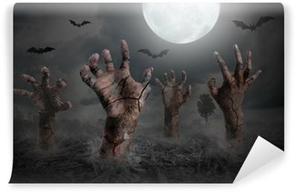 Wall Mural - Vinyl zombie hand rising out of the ground