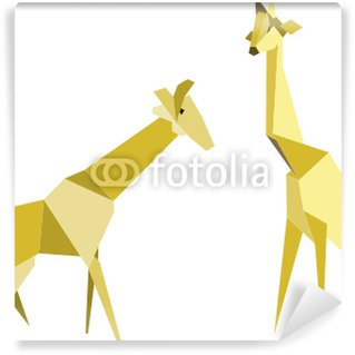 zwei Giraffen – Origami Wall Mural - Vinyl