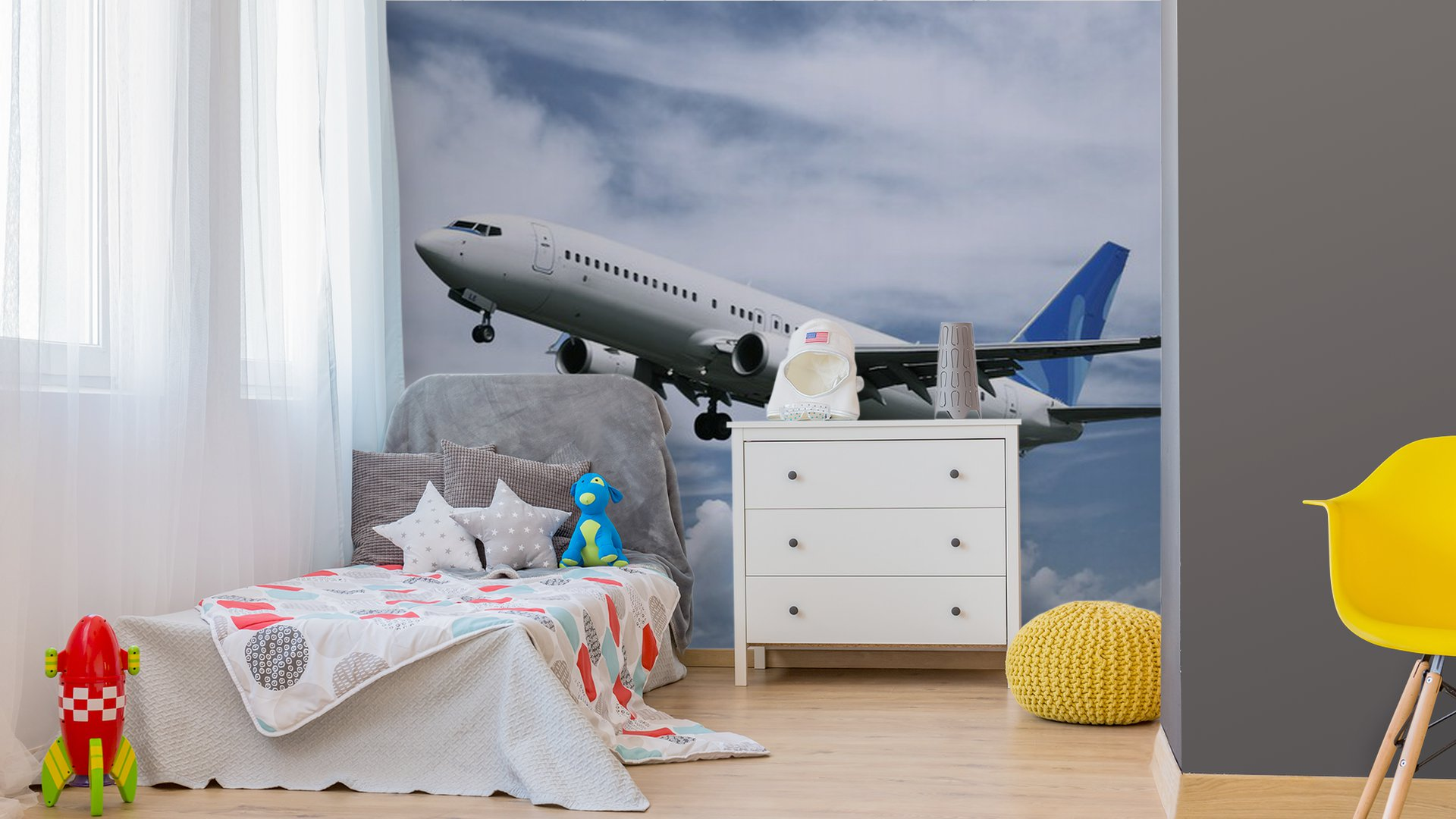 Passenger airplane landing vinyl wall mural pixers we for Aviation wall mural